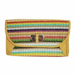 Vintage Women's Multi Colored Striped Straw Purse with Chain Faux Leather